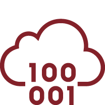 Cloud with binary numbers icon